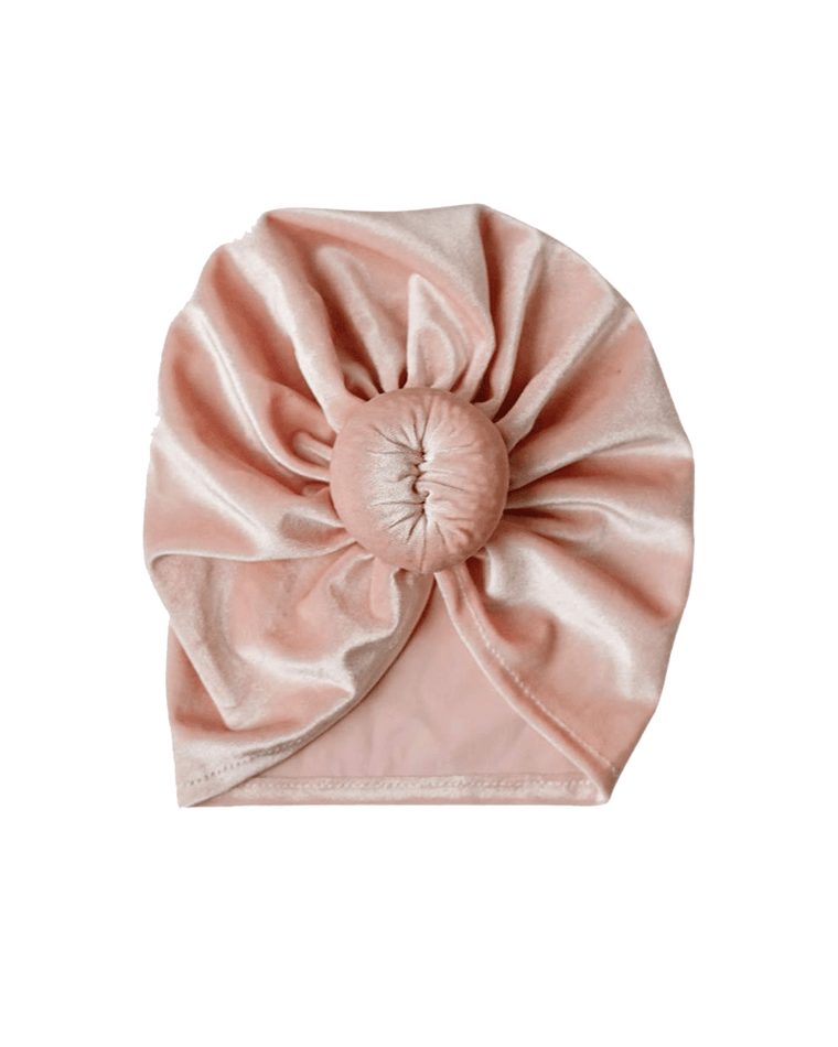 Velour Bun Beanie for Babies - Pink