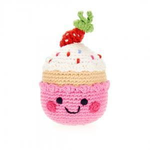 Organic Knit Baby Rattle -  Pink Birthday Cupcake
