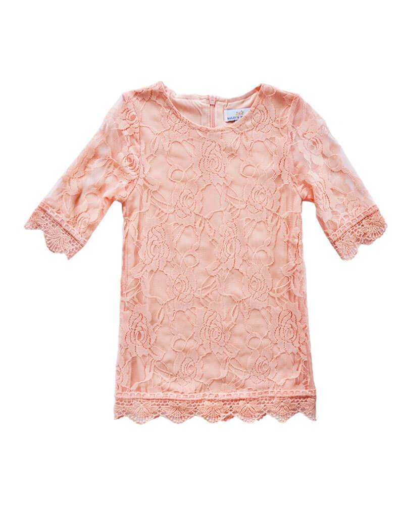 Vintage Lace Baby Dress- Peach