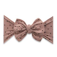 Baby Bling Bow Patterned Shabby Knot - Putty w/Black Dots
