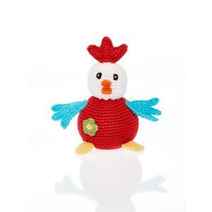 Organic Knit Baby Rattle - Chubby Rooster