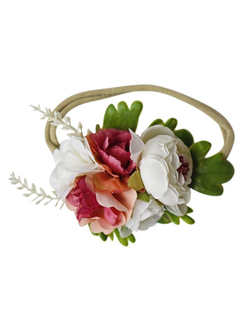 Floral Stretch Baby Headband- Ivory and Rosewood