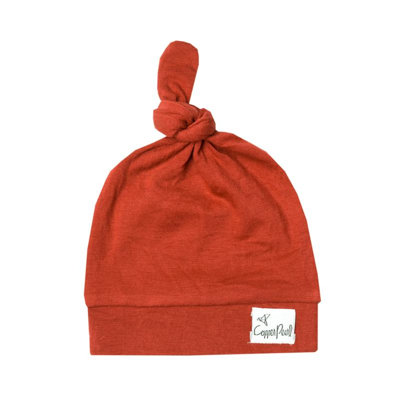 Top Knot Beanie for Infants - Rust