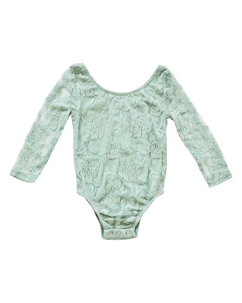 Lace Baby Leotard - Mint