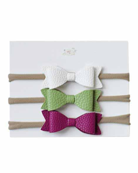 Leather Headband Bow Set - White, Green, Fuchsia