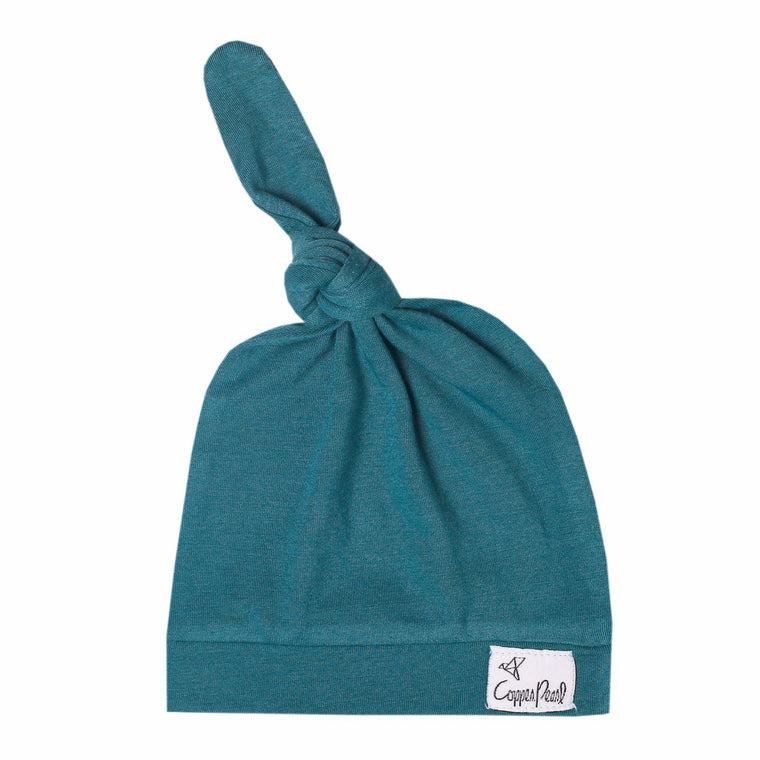 Top Knot Beanie for Infants - Steel