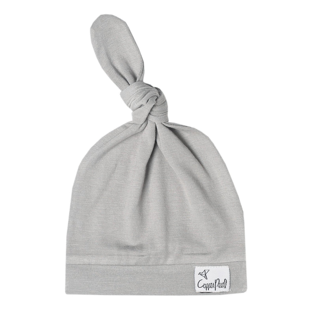 Top Knot Beanie for Infants - Stone