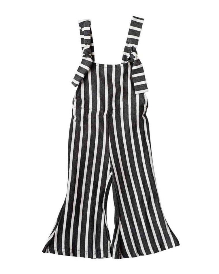 Bell Bottom Jumpsuit - Gray Striped