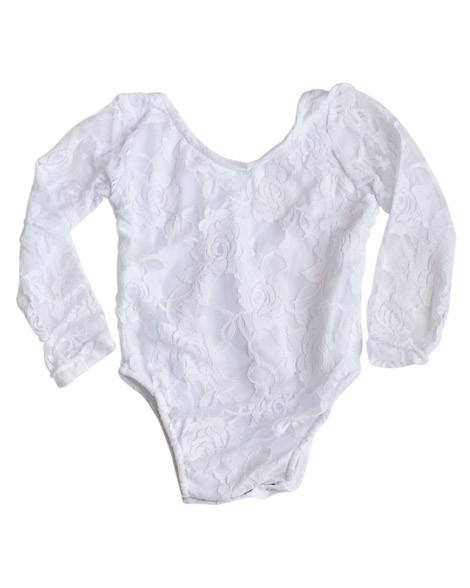 Lace Baby Leotard - White