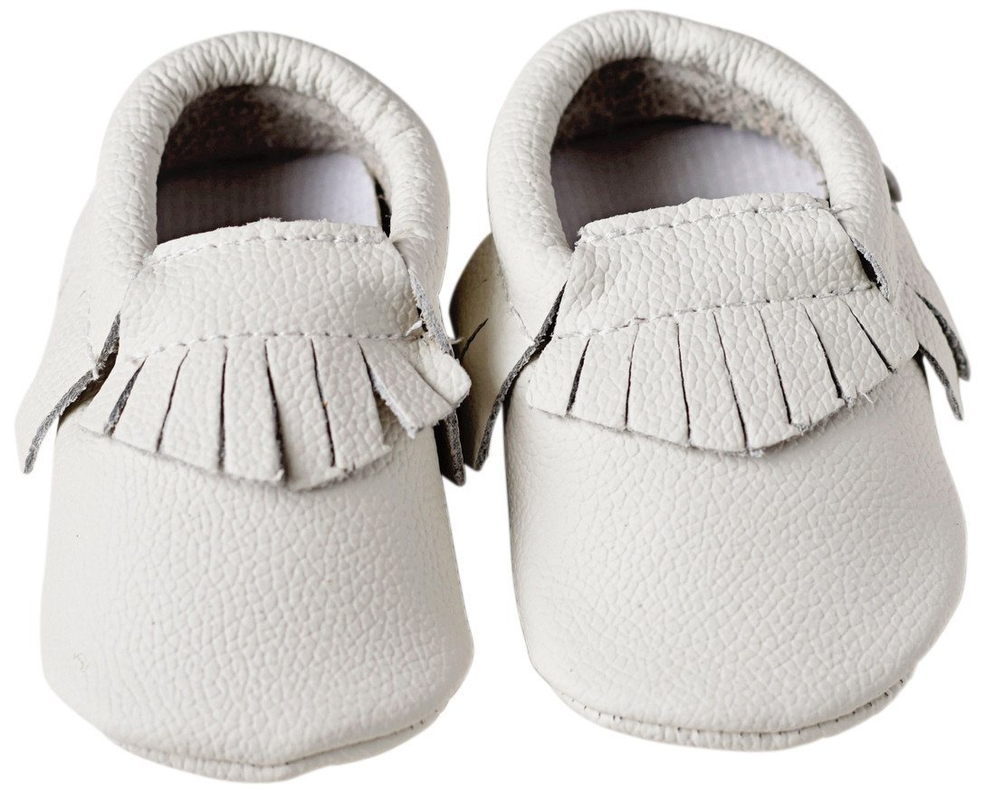 Moccasins Geniune Leather for Babies - White