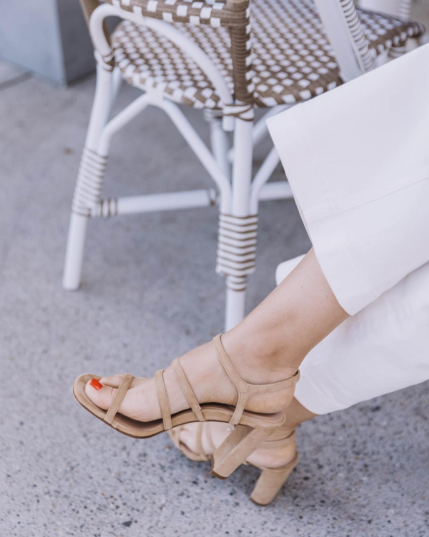 This style is such a great neutral and goes with so much. Love the strappy suede and slightly chunky heel.