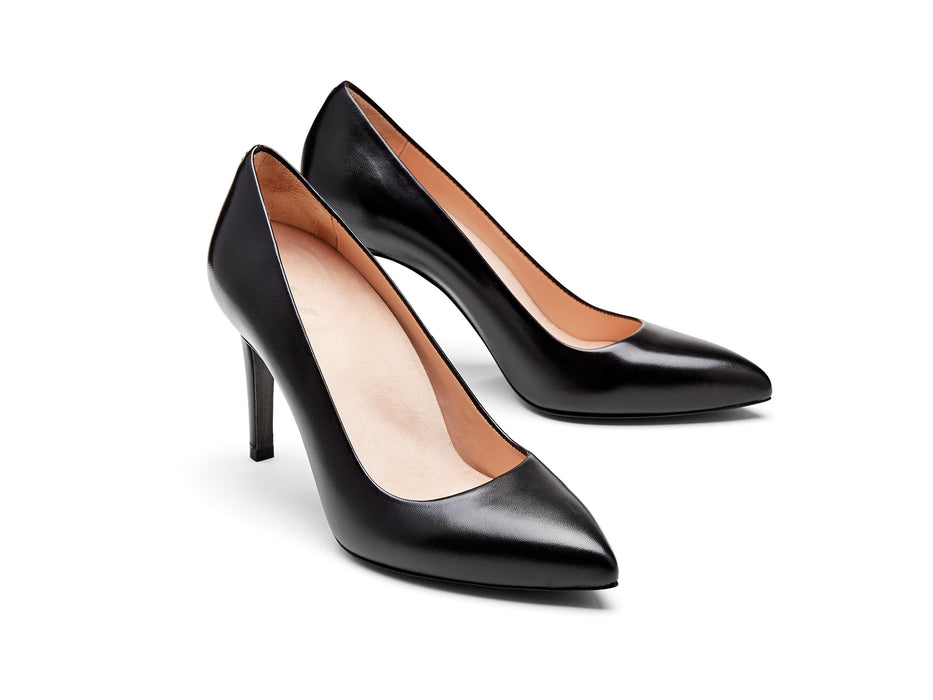 INEZ shoes Alta women pointed toe stiletto pump comfortable heel black nappa