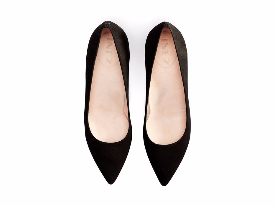 INEZ shoes Alta women pointed toe stiletto pump comfortable heel black suede