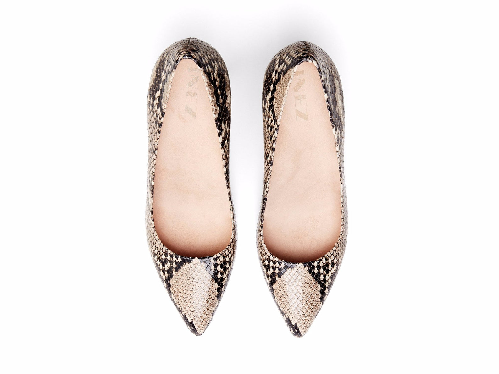 INEZ shoes Alta women pointed toe stiletto pump comfortable heel natural snake emboss leather