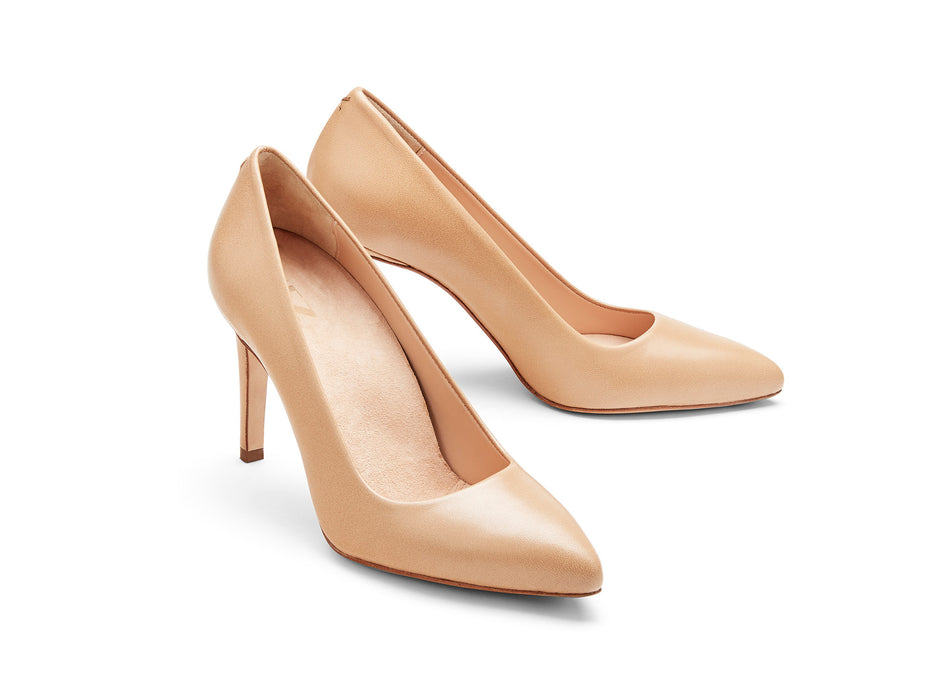 INEZ shoes Alta women pointed toe stiletto pump comfortable heel almond nappa