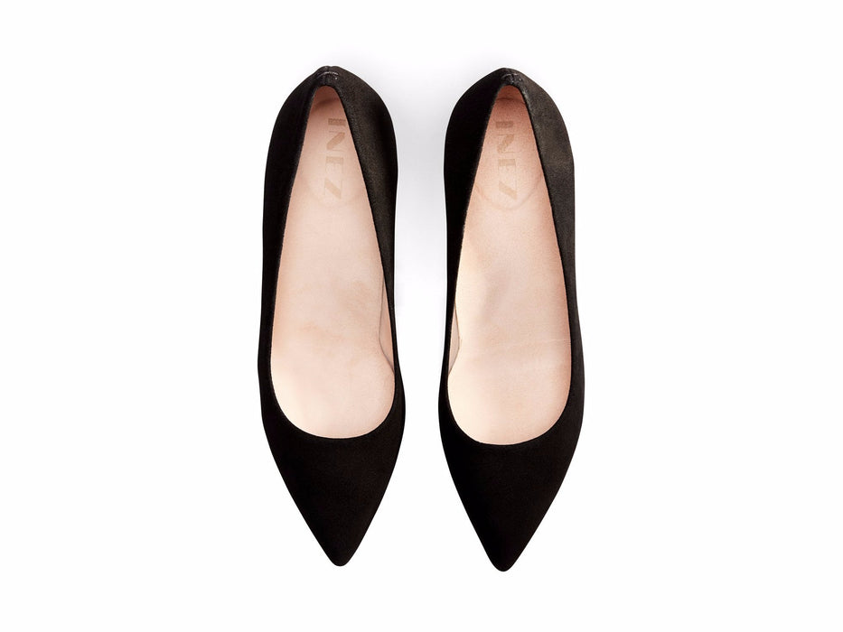 INEZ shoes Lola women pointed toe stiletto pump comfortable heel black suede