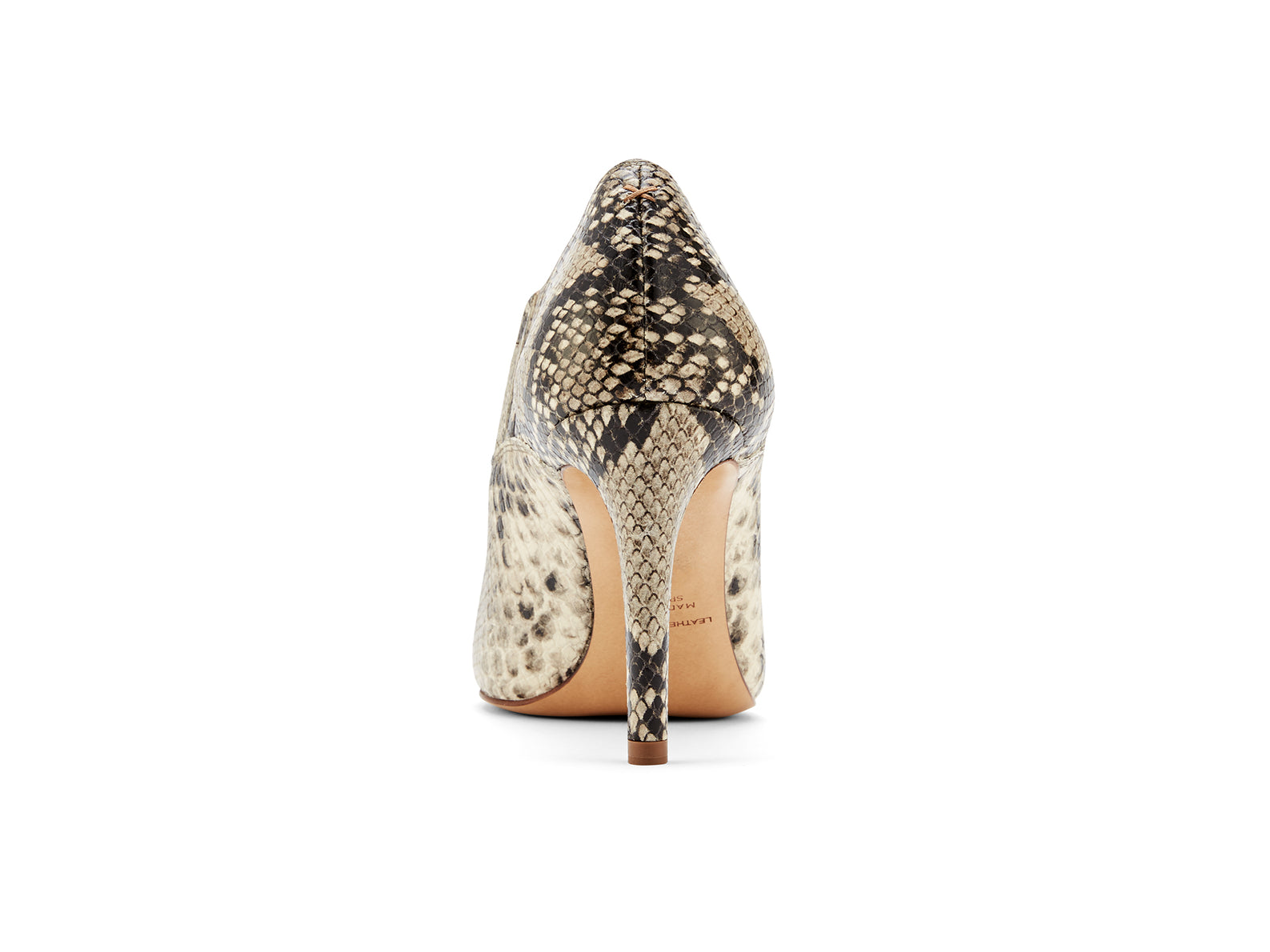 INEZ shoes Marisol low-cut heel bootie in natural snake emboss leather