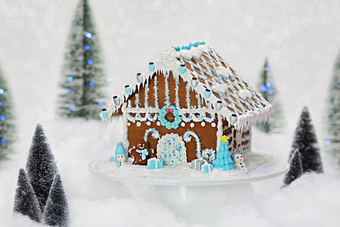 Blue Gingerbread House Designer Decorating Kit Bakery Bling Edible Glitter Christmas
