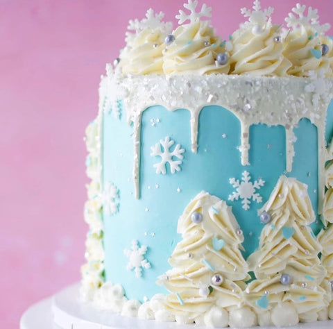 Snowy Winter Cake with Edible Glittery Bakery Bling Sugar Sprinkles