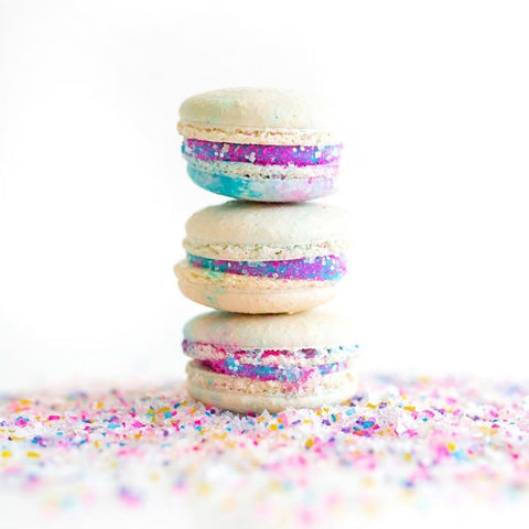 Unicorn Macarons with Edible Glitter Sugar Sprinkles by Bakery Bling: Bakery Bling Unicorn Confetti Blinged-Out Glittery Sugar for Unicorn Birthday Parties