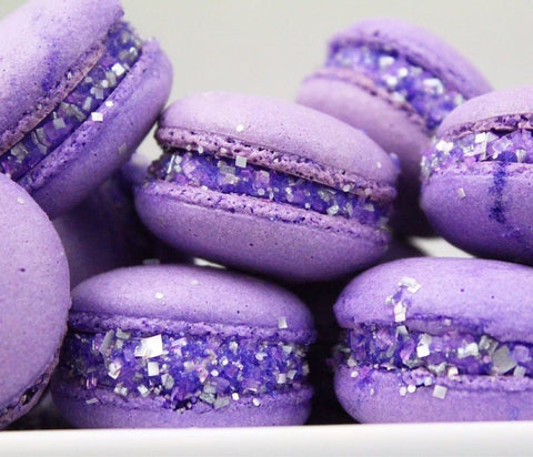 Glitter Macarons made with Bakery Bling Purple Edible Glitter Glittery Sugar Sprinkles: Unique macarons for birthdays and weddings