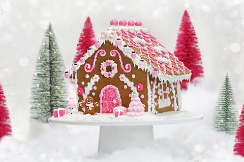 Pink Gingerbread House Designer Cookie Kit Bakery Bling