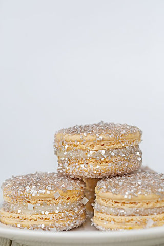 Platinum Silver Sparkling Macarons with Silver Bakery Bling 5th Avenue Glittery Sugar Edible Glitter Sprinkles for Weddings and Bridal Shower Desserts