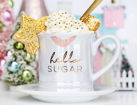Latte and Hot Chocolate with Bakery Bling Gold Edible Glitter Stars