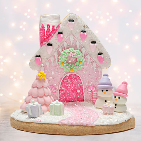 Pink Cookie Christmas House Sugar Cookie Decorating Kit Designer Cookie Kit by Bakery Bling Pastel Christmas Edible Glitter Sprinkles