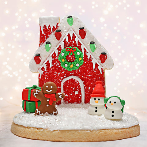 Red Cookie House Sugar Cookie Decorating Kit Designer Cookie Kit by Bakery Bling for Christmas Edible Glitter Sugar Sprinkles