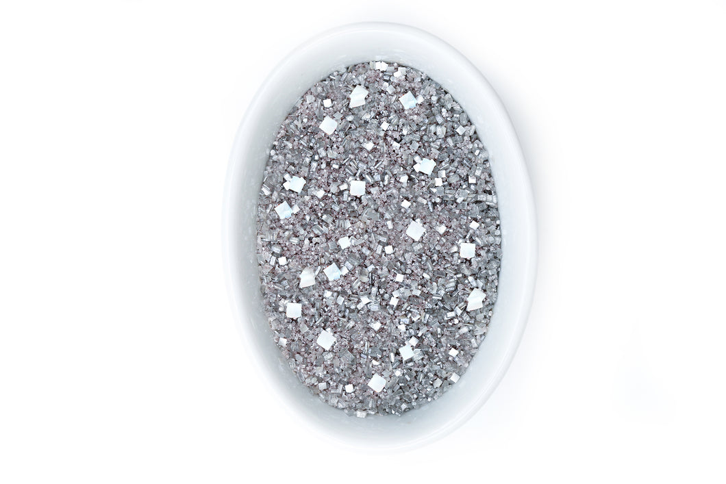 Bakery Bling Edible Glitter Metallic Silver Glittery Sugar Sprinkles: 5th Avenue Blinged-Out Glittery Sugar