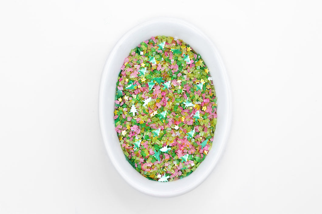 Bakery Bling Sugarplum Fairy Glittery Sugar Pink Christmas Sprinkles with Edible Glitter Trees