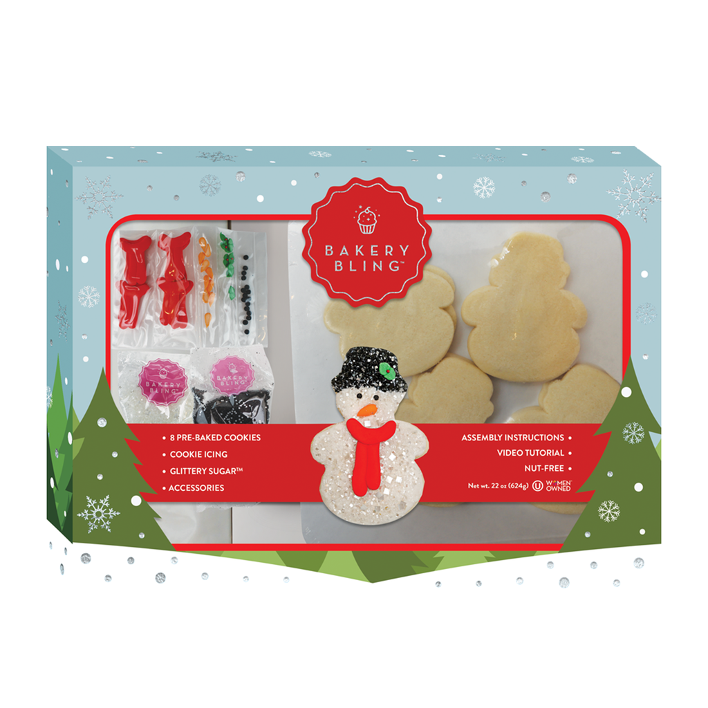 Snowman Designer Cookie Kit by Bakery Bling comes with eight pre-baked sugar cookies and all of the edible glitter sprinkles and icing to make snowman cookies for winter parties, Christmas, or cookies for Santa!