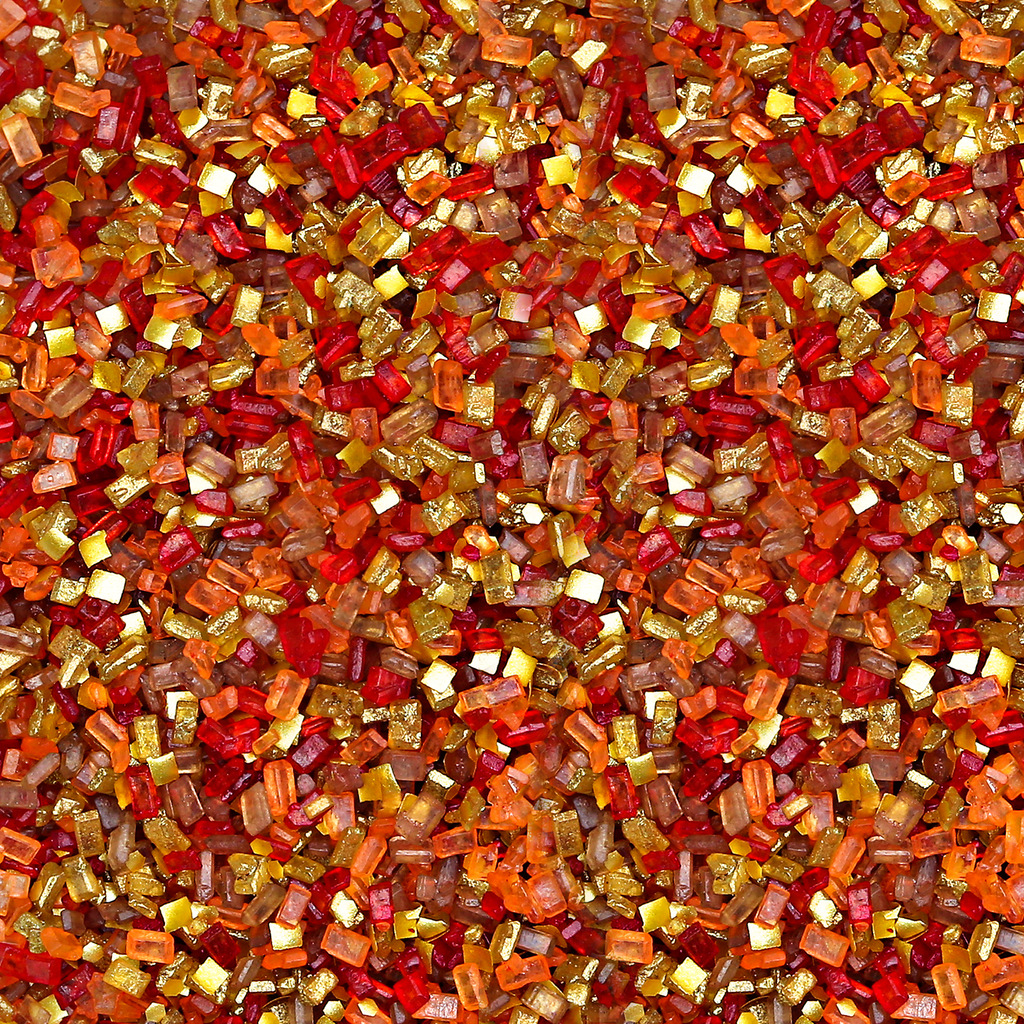 Bakery Bling Thanksgiving Glittery Sugar Sprinkles. Tags: Autumn, Fall, Red, Orange, Gold Edible Glitter, Brown, Turkey