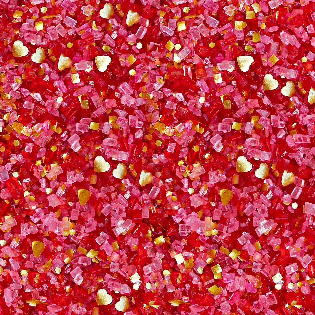 Bakery Bling Valentine's Day Glittery Sugar Sprinkles with Gold Edible Glitter Hearts