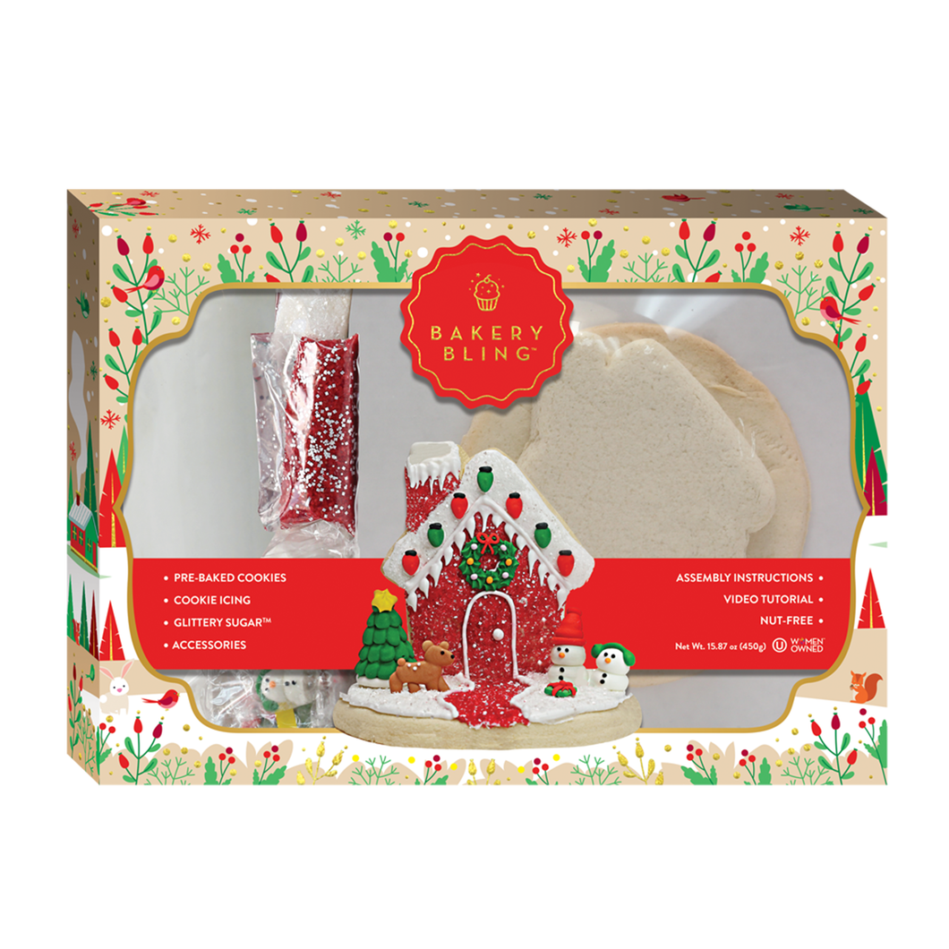 Bakery Bling Designer Cookie House: Edible Glitter Sugar Cookie Decorating House Kit for Christmas and Winter