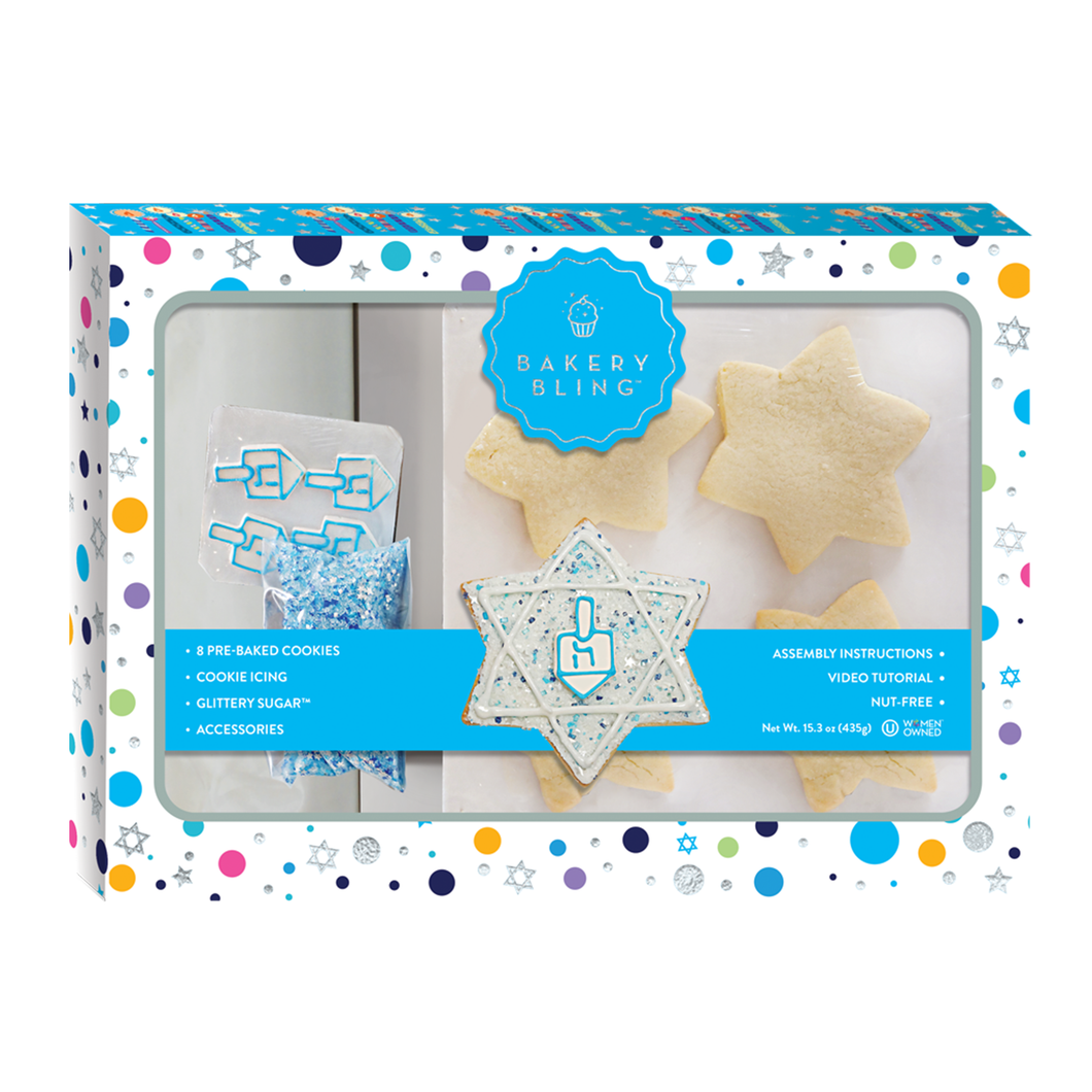 Hanukkah Cookies: Designer Cookie Kit by Bakery Bling for the holidays Dradel Cookies Sugar Cookies Cookie Decorating Edible Glitter Sprinkles Royal Icing White and Blue
