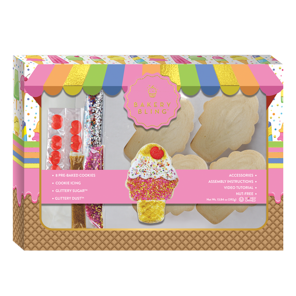 Ice Cream Cookie Decorating Kit: Bakery Bling Designer Cookie Kit for Baking with Kids and Beginners. Comes with edible glitter sugar sprinkles, icing, and more.