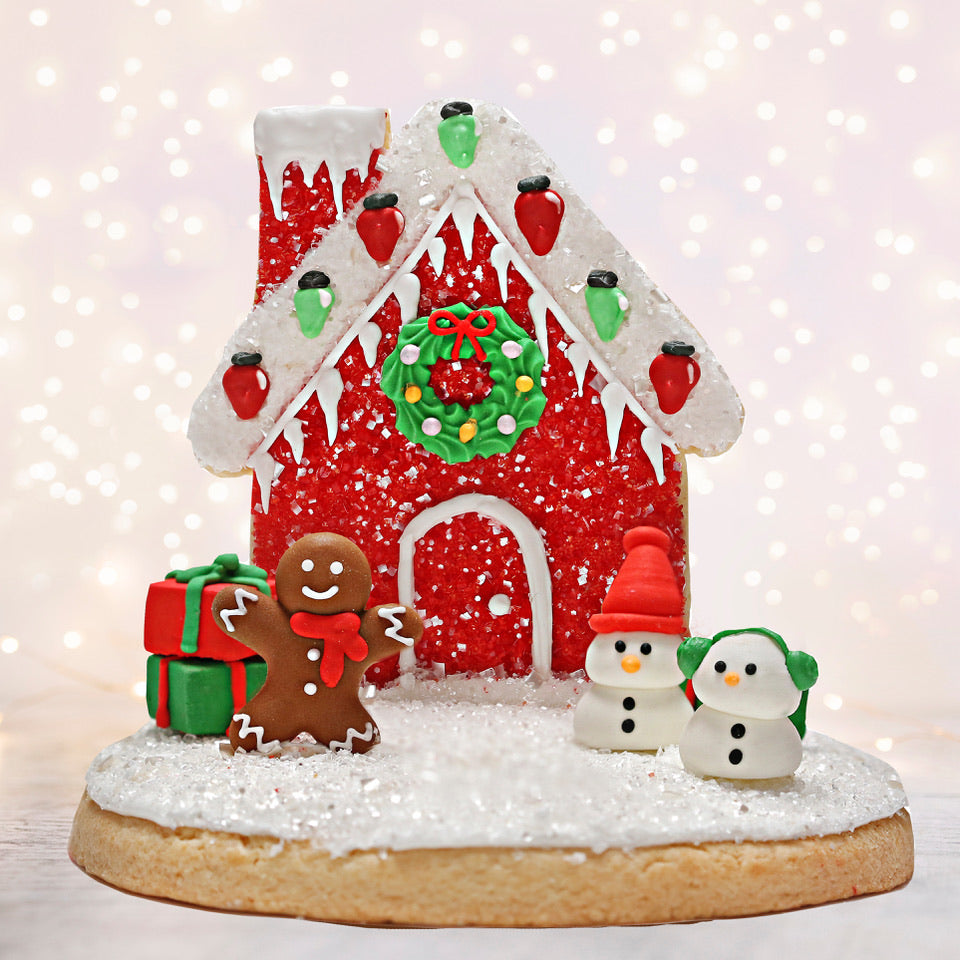 Red Cookie House Decorating Kit for Christmas: Gingerbread Sugar Cookie House Premade Bakery Bling Designer Cookie House for Christmas