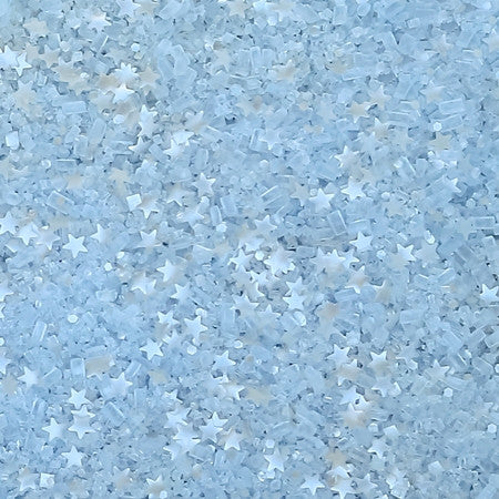Light Blue with Metallic Silver Stars Bakery Bling Glittery Sugar - Edible Glitter Sprinkles for Baking and Decorating