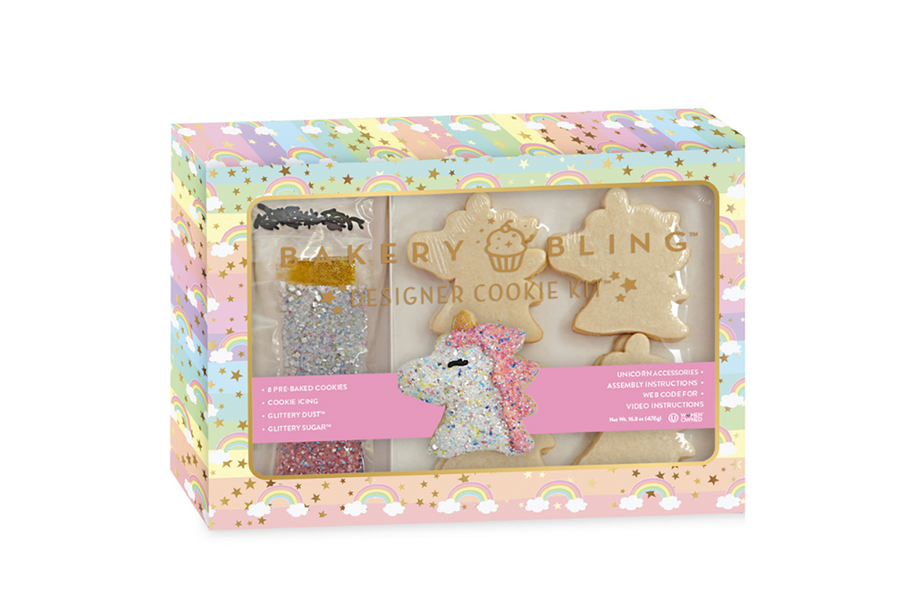 Unicorn Designer Cookie Kit by Bakery Bling includes: 8 preached unicorn sugar cookies, unicorn confetti glittery sugar sprinkles with edible glitter, gold glittery dust, royal icing, piping bag, unicorn royal icing accessories and decorating instructions.