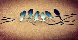 Perching Love Birds - Metal Wall Art