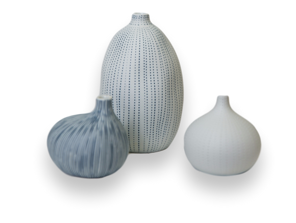 Small Porcelain Vase Trio—Blue