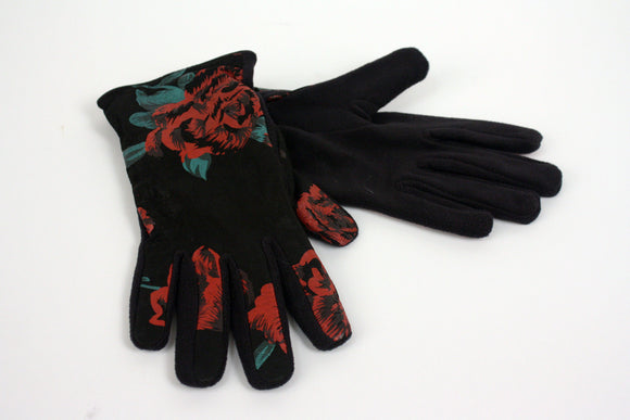 Leather Gloves with Floral Pattern