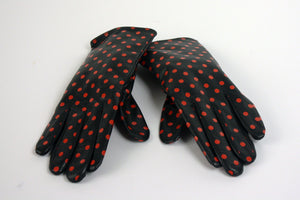 Leather Gloves with Red Polka Dots