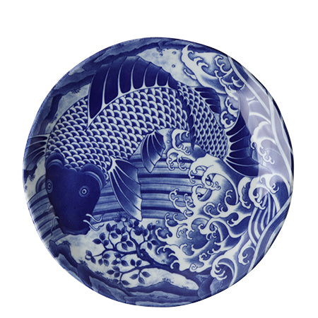 Wild Koi Plate, Blue and White