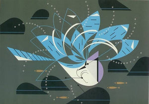 Charley Harper—Blue Jay Bathing