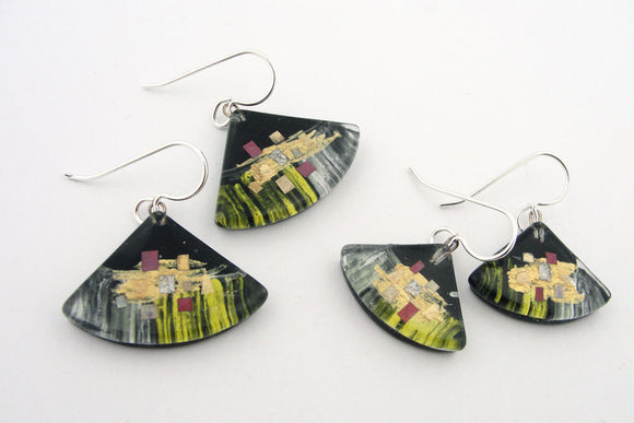 Momo Glassworks—Golden Phase Fan Earrings