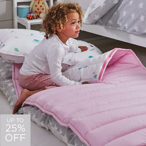 pink quilted sleeping bag