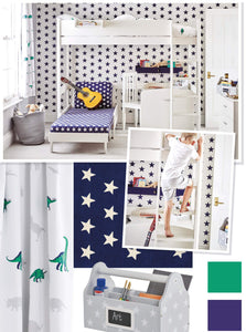 navy star and dinosaur bedroom with high sleeper bed